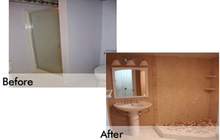 modern bathroom remodeled Gaithersburg MD